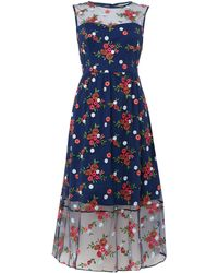 Shubette - Cap Sleeve All Over Embroidered Midi Dress - Lyst