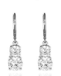 Anne Klein - Leverback Double Stone Drop Earrings - Lyst