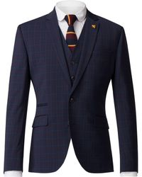 Gibson - Men's Navy Jacket With Soft Red Check - Lyst
