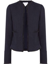 Warehouse - Navy Tweed Jacket - Lyst
