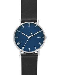 Skagen - Signatur Black Leather Watch - Lyst