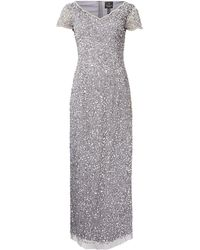 Adrianna Papell - Petite Embellished V Neck Short Sleeve Maxi Dress - Lyst