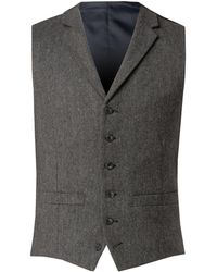 Racing Green - Men's Charcoal Herringbone Waistcoat - Lyst