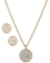 Anne Klein - Box Set Pave Necklace And Earring Set - Lyst