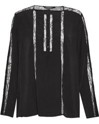 French Connection - Polly Plains Lace Trim Blouse - Lyst