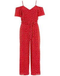 Quiz - X Towie Red Polka Dot Cold Shoulder Jumpsuit - Lyst