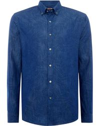 Michael Kors - Men's Jedediah Slim Fit Palm Print Denim Shirt - Lyst