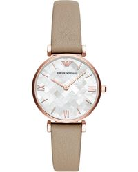 Emporio Armani - Leather And Rose Gold-toned Dress Watch - Lyst