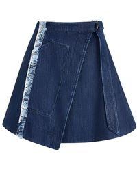 House of Holland - Taped Denim Wrap Skirt - Lyst