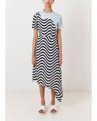 House of Holland - Contrast Wave Asymmetric Dress - Lyst