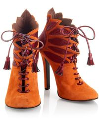 House of Holland | Ss15 'plaster Casters' Orange/ Red Tassel Suede Boots | Lyst
