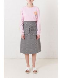 House of Holland - Frill Pocket Jacquard Midi Skirt - Lyst