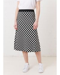 House of Holland - Black Spotted A-line Skirt - Lyst