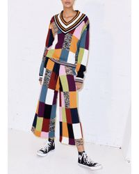 House of Holland - Knitted Patchwork Cricket Jumper - Lyst