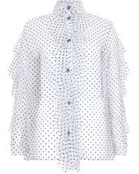 House of Holland - Flocked Tulle Frill Shirt - Lyst