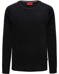 HUGO - Ribbed Cotton Sweater With Sleeve Stripe - Lyst