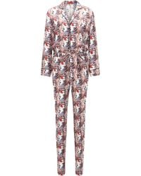 HUGO - Relaxed-fit Jumpsuit In Silk Blend - Lyst