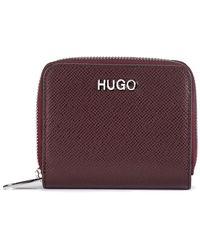 HUGO Zip-around Wallet In Saffiano Leather - Red