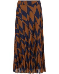 BOSS A-line Skirt In Italian Plissé With Graphic Wave Print