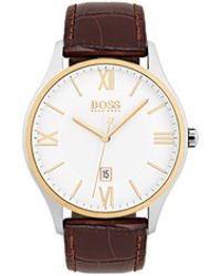 BOSS - Three-hand Watch With Two-level Dial And Leather Strap - Lyst