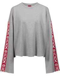 HUGO - Relaxed-fit Cropped Sweatshirt With Abstract-logo Tape - Lyst