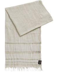 BOSS - Two-tone Scarf With Placement Stripes And Fringing - Lyst