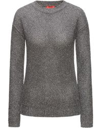 HUGO - Crew-neck Honeycomb-knit Sweater With A Touch Of Sparkle - Lyst