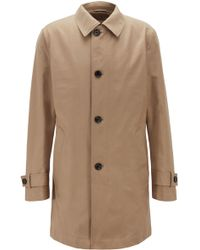 BOSS - Button-through Overcoat In Eco-friendly Twill - Lyst