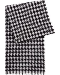 HUGO - Virgin-wool-blend Scarf With Jacquard-knit Houndstooth Check Pattern  - bd99c18d61697