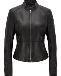 BOSS - Lambskin Leather Jacket | Sammonaie - Lyst