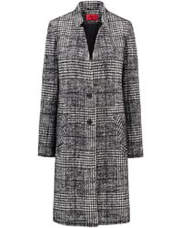 HUGO - Two-button Coat In Monochrome Glen Plaid - Lyst