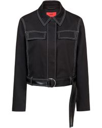 HUGO - Cropped Jacket In Stretch Cotton With Lacquer-trimmed Belt - Lyst