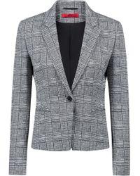HUGO - Slim-fit Blazer In Black-and-white Check - Lyst