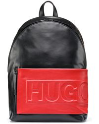 HUGO - Leather Backpack With Logo-embossed Fabric Pocket - Lyst