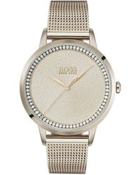 BOSS - Carnation-gold-plated Watch With Textured Dial - Lyst