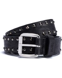 HUGO - Tumbled-leather Belt With Stud Detailing - Lyst