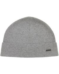 6dd758189959e BOSS Knitted Beanie Hat In Virgin Wool With Turnback Hem in Gray for ...