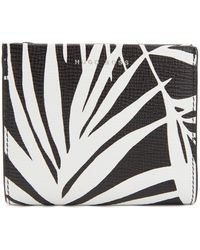 BOSS - Palm-leaf Print Wallet In Italian Calf Leather - Lyst