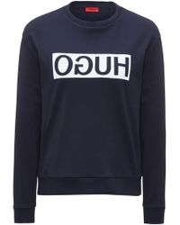 HUGO - Relaxed-fit Cotton Jumper With Reverse Logo - Lyst