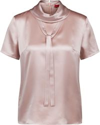 HUGO - Roll-neck Top In Stretch Silk With Bow Detail - Lyst