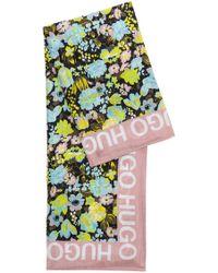 HUGO - Floral Scarf In Habotai Silk - Lyst