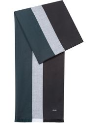 HUGO - Fringed Scarf In A Cotton Blend With Contrast Stripes - Lyst