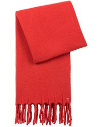 HUGO - Scarf In A Wool Blend With Chunky Fringed Edges - Lyst