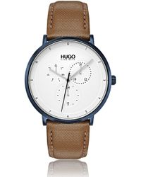 HUGO - Three-hand Watch With Textured Leather Strap - Lyst