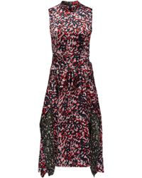 HUGO - Midi-length Dress In Camouflage Print With Knot Detail - Lyst