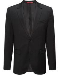 HUGO - Extra-slim-fit Jacket In Yarn-dyed Virgin Wool - Lyst
