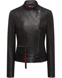 HUGO - Biker Jacket In Calfskin Leather With Press-stud Closures - Lyst