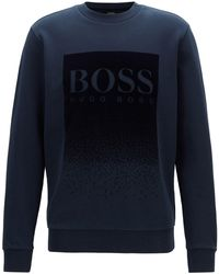 c375c66c7 BOSS - French-terry Sweatshirt With Flocked Logo Print - Lyst