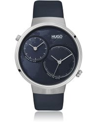 HUGO - Dual-movement Watch With Blue Map Dial - Lyst