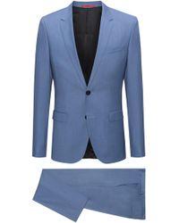 HUGO - Extra-slim-fit Melange Virgin Wool Suit - Lyst